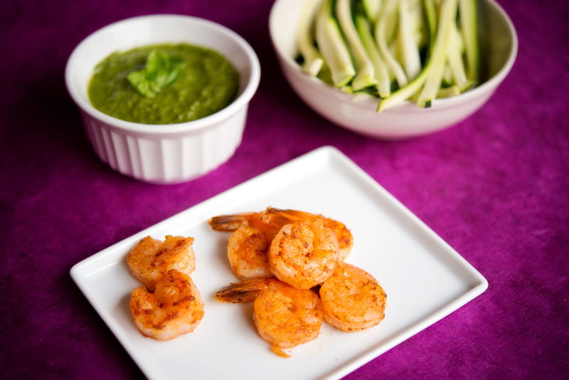 Paleo Zucchini Pasta with Shrimp and Pesto | Garlic, My Soul