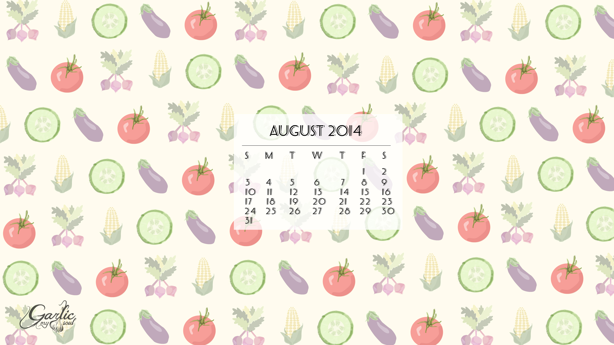 August Desktop Calendar | Garlic, My Soul