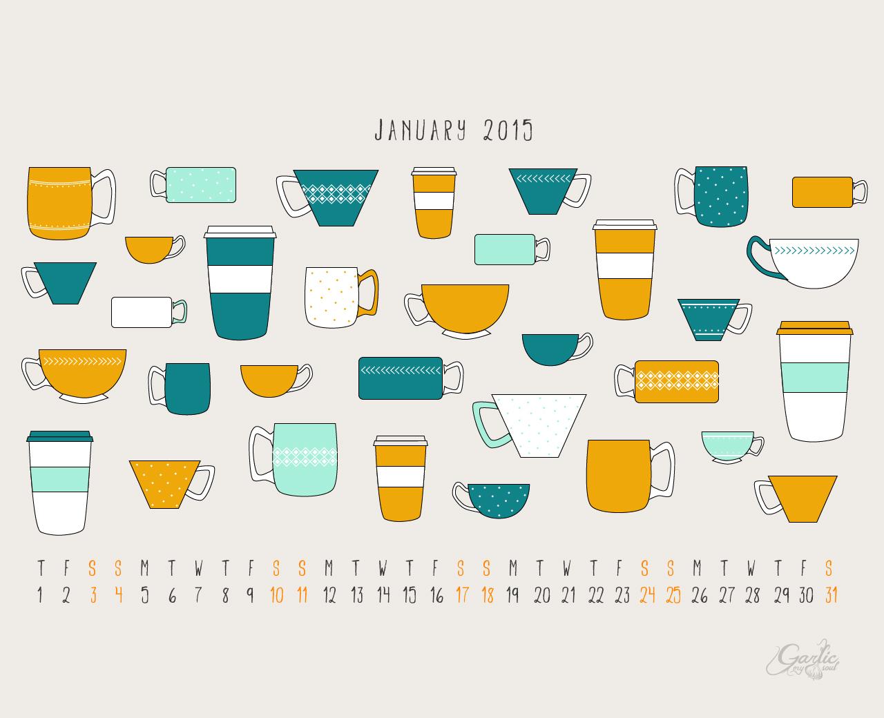 January Desktop Calendar | Garlic, My Soul