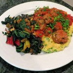 Spanish-style Meatballs with Polenta and Sautéed Greens Recipe