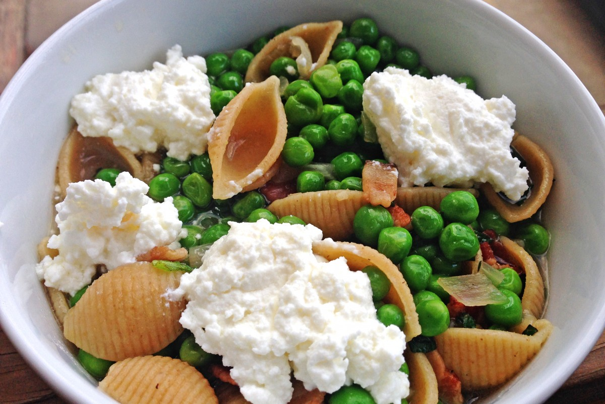 Shells with Green Peas, Mint, and Ricotta   Garlic, My Soul