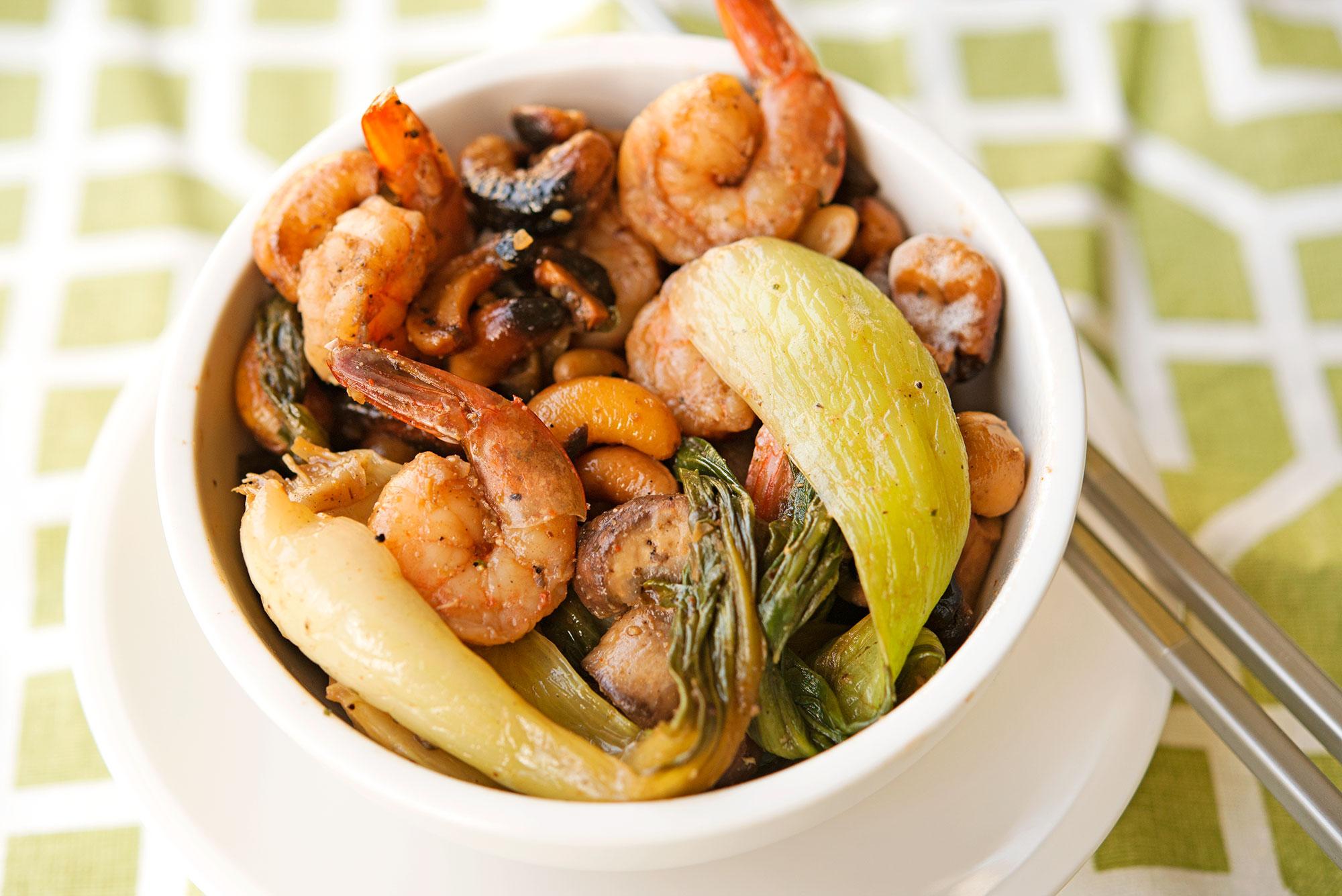 Garlic My Soul • Baby Bok Choy Shrimp & Cashew Stir Fry