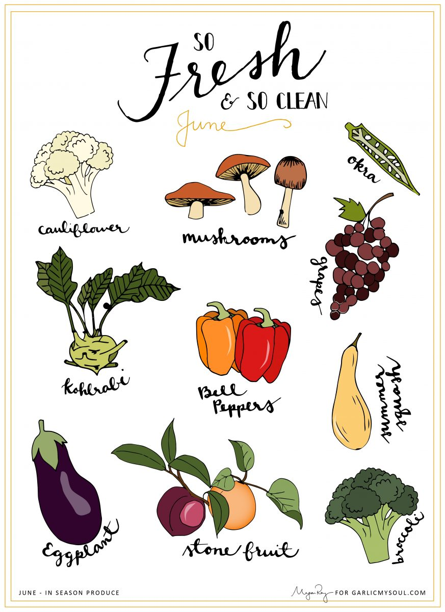 June Seasonal Produce | Garlic, My Soul | Megan Roy Design