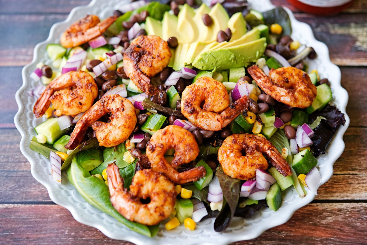Barbecue Shrimp Salad | Garlic, My Soul