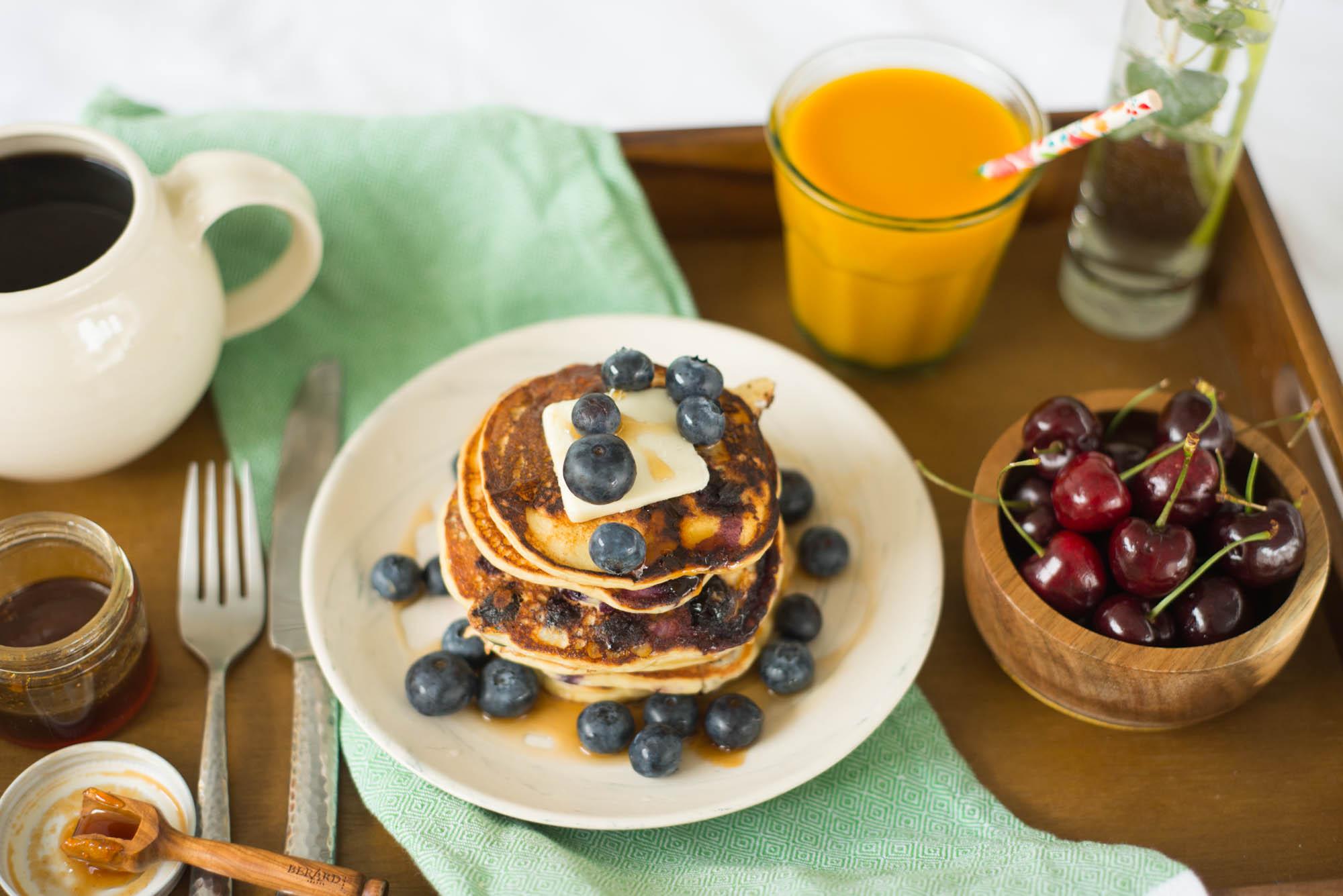 Garlic My Soul • Breakfast In Bed: Honey Blueberry Pancakes