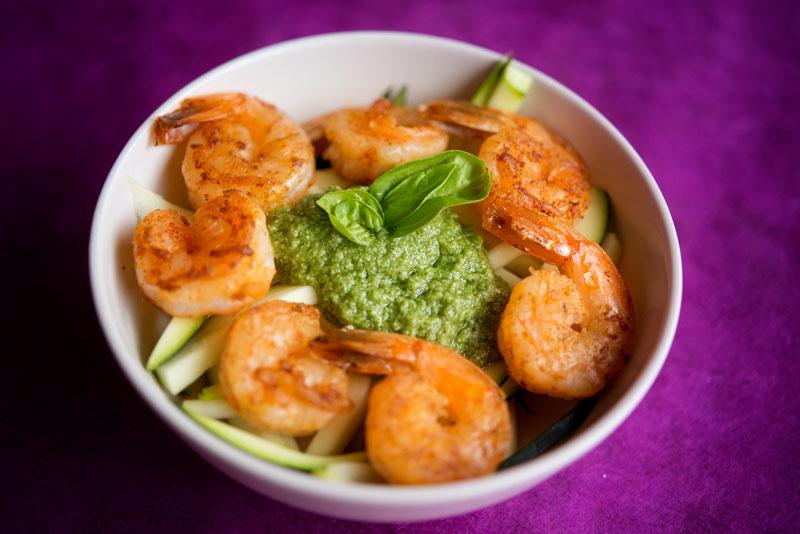 Paleo Zucchini Pasta with Shrimp and Pesto | Garlic, My Soul