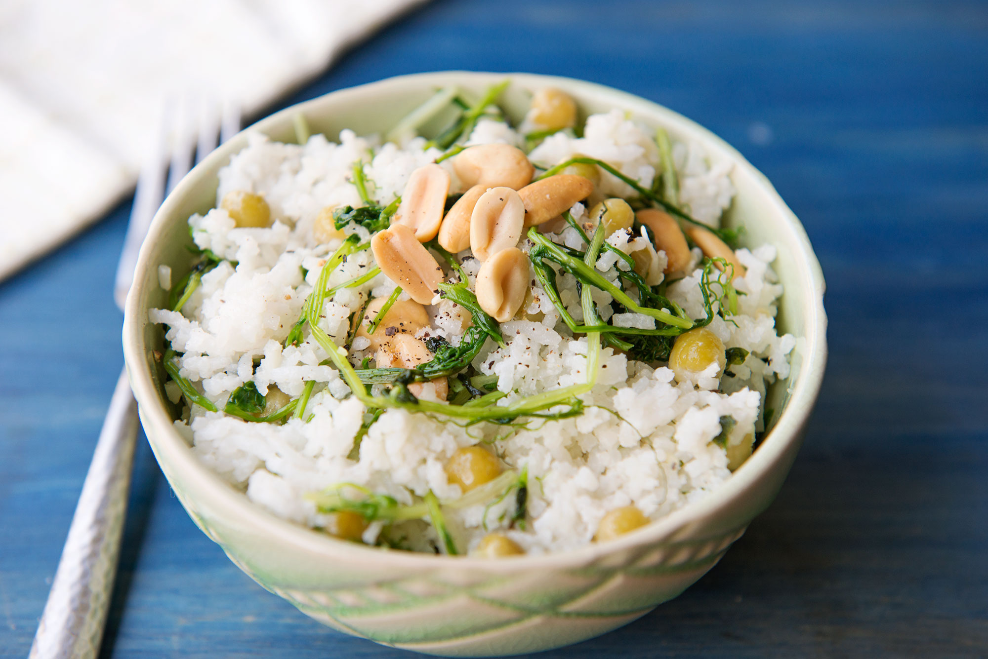 Garlic My Soul • Coconut Rice with Pea Tendrils