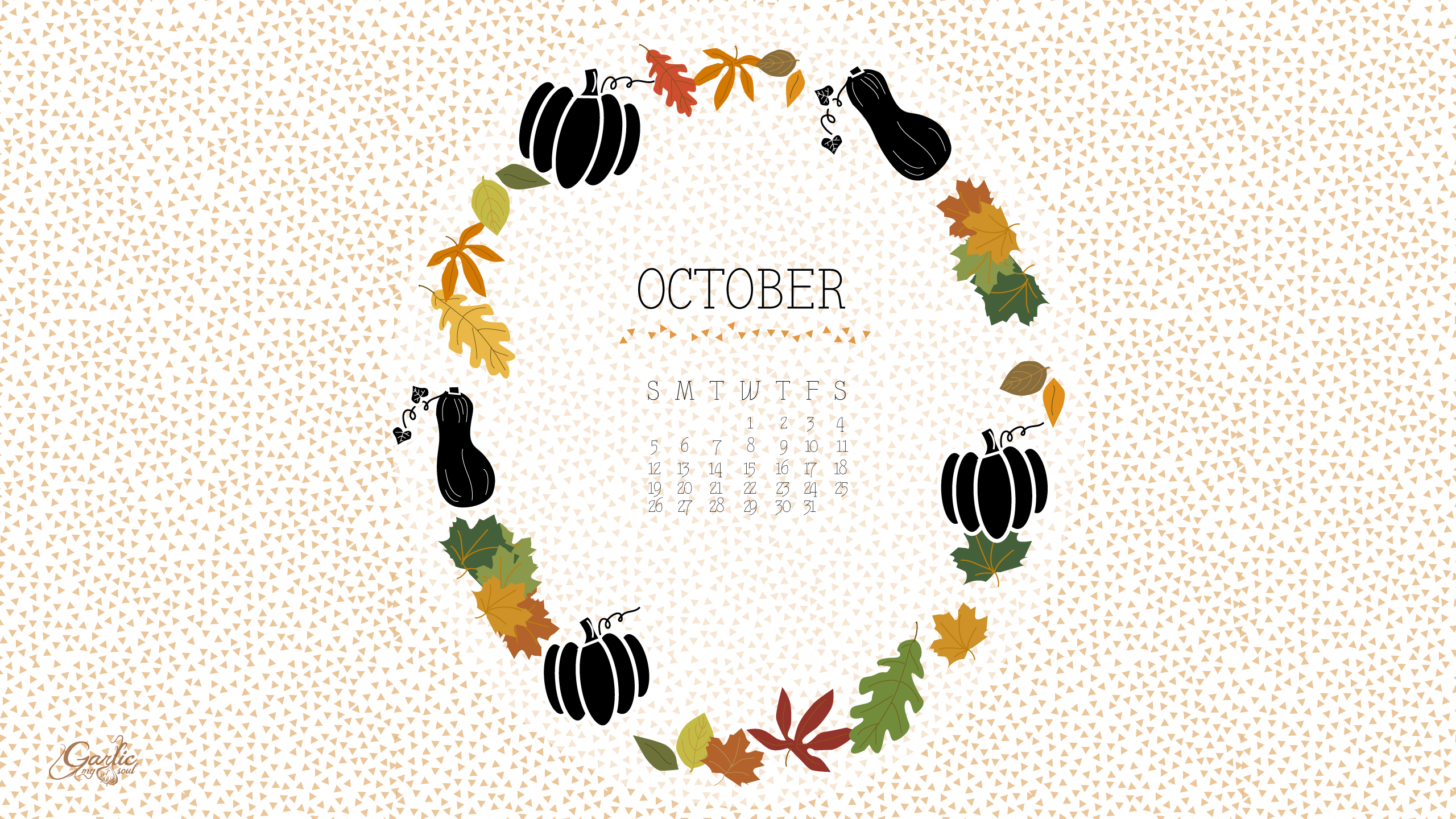 October Desktop Calendar | Garlic, My Soul