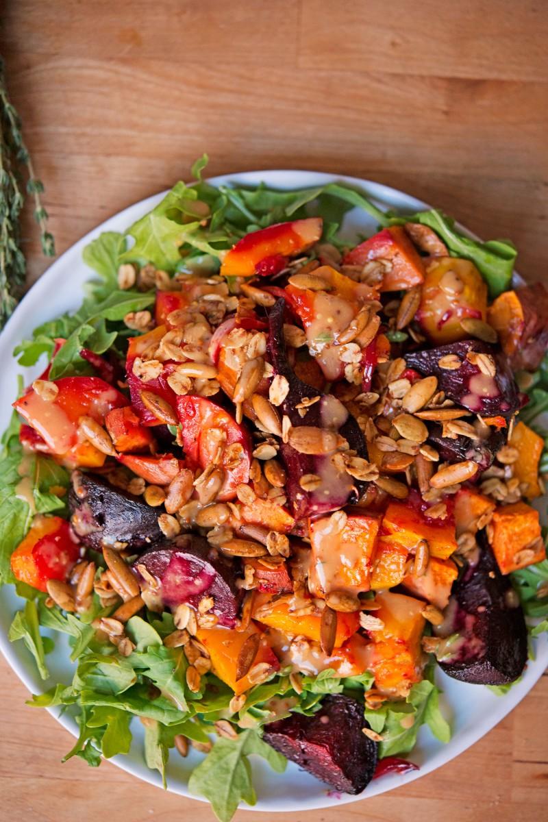 Roasted Vegetable & Arugula Salad | Garlic, My Soul