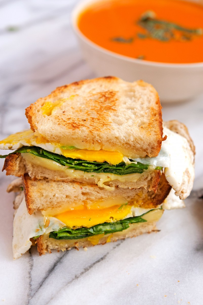 Fried Egg + Spinach Grilled Cheese | Garlic, My Soul