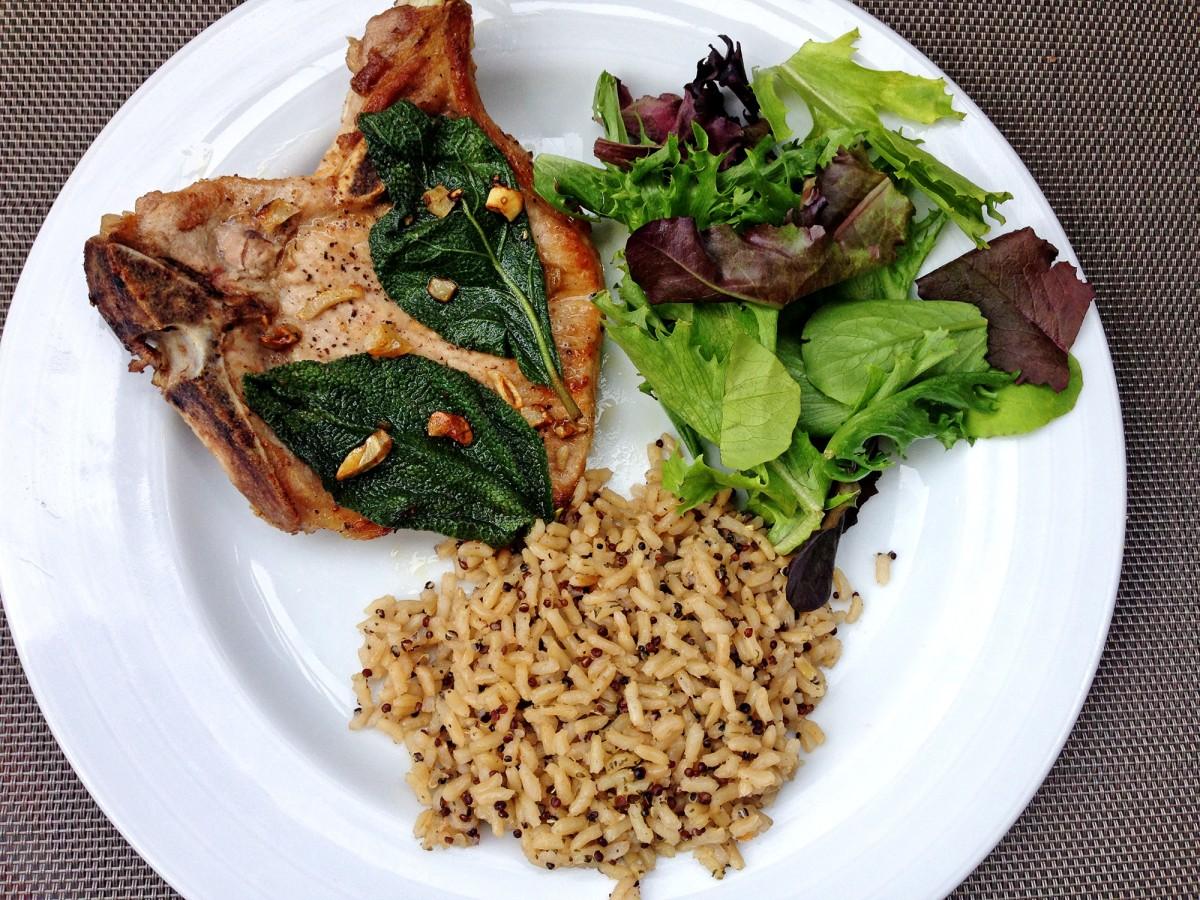 Pan Pork Chops with Garlic & Sage