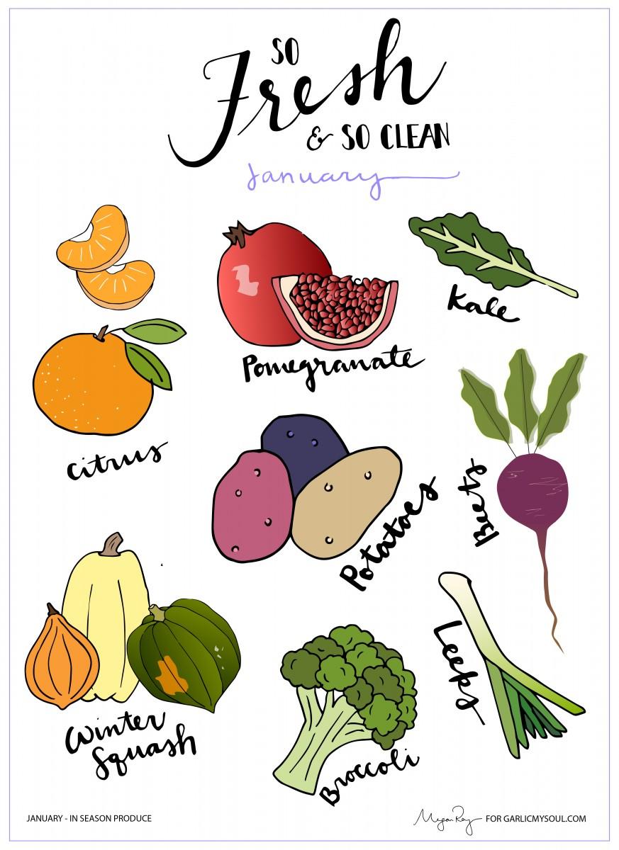 January Produce | Garlic, My Soul | Megan Roy Design